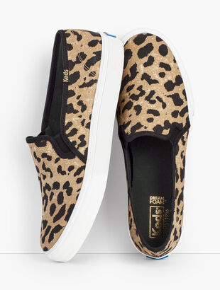 Keds(R) Double Decker Leopard Canvas Slip-On Sneakers