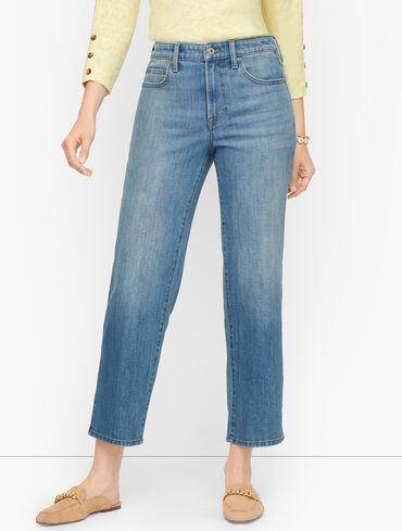 Straight Leg Crop Jeans - Atlas Wash
