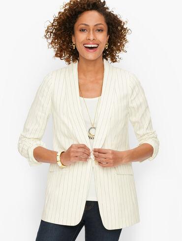 Shawl Collar Blazer - Pinstripe