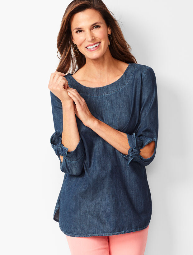 Tie-Sleeve Denim Top