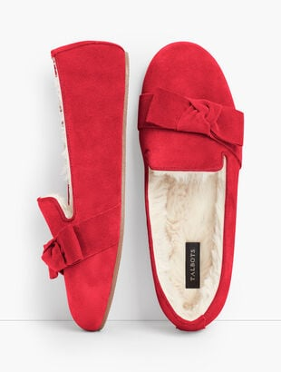 Fireside Bow Slippers - Suede