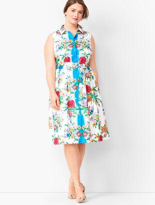 Blossoms Sateen Shirtdress