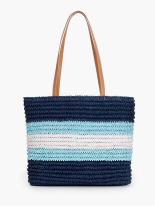 Tri-Color Crochet Paper Straw Tote Bag