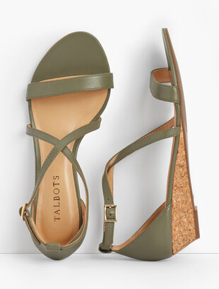 Capri Cross-Strap Mini-Wedge Sandals - Nappa Leather