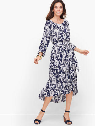 Flounce Hem Midi Dress
