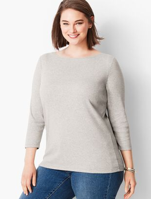 Pima Cotton  Bateau Neck Tee- Heather