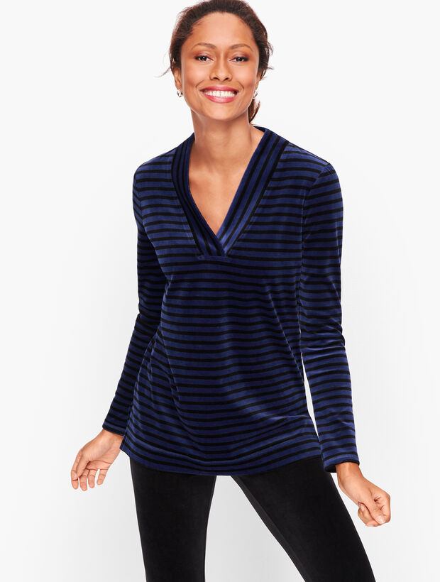 Luxe Velour Easy V-Neck Tunic - Stripe