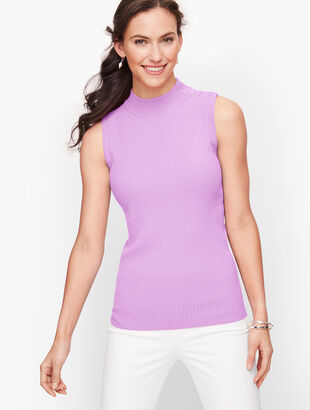 Sleeveless Mockneck Sweater