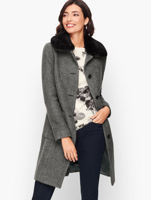 Bouclé Wool Coat With Faux Fur Collar