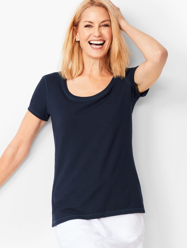 Fresh Jersey Scoop-Neck Tee - Solid