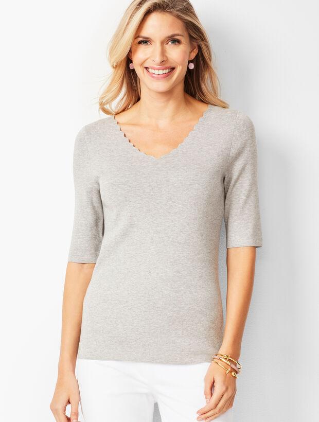 Scallop-Trim V-Neck Sweater