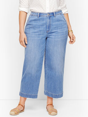 Plus Size - Wide Leg Crop Jeans - Tilden Wash