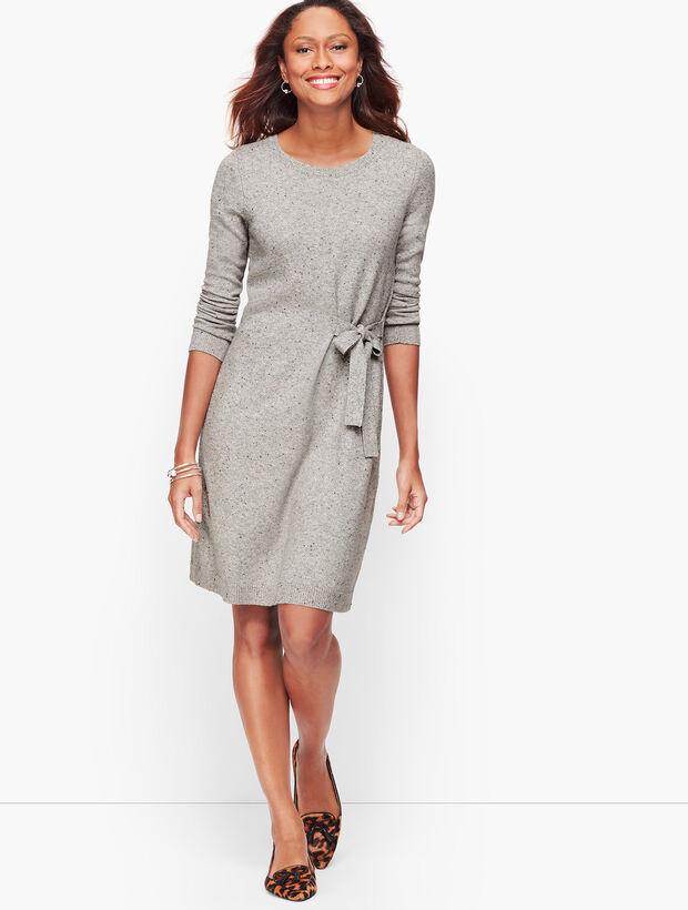 Tweed Side Tie Sweater Dress