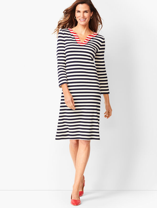 Trimmed Cotton Knit Shift Dress - Stripe 1c82355b70