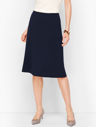 Stretch Crepe Flared Skirt