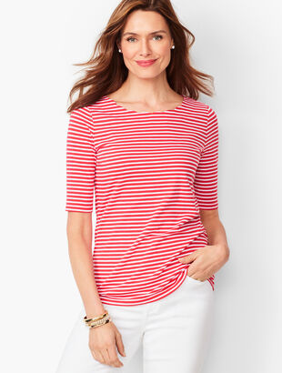 Pima Scallop-Edge Tee - Stripe