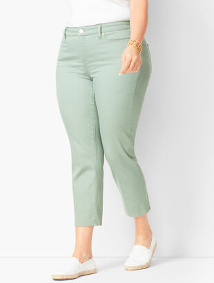 Denim Straight Crops - White, Olivine & Vanilla
