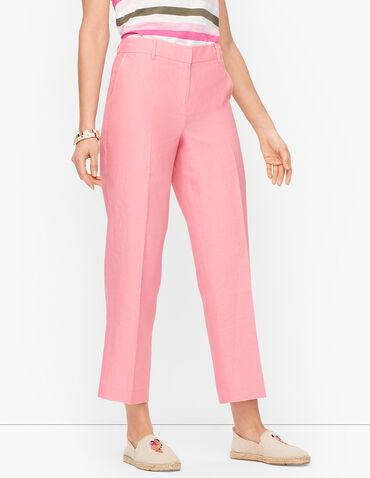 Linen Straight Leg Crop Pants