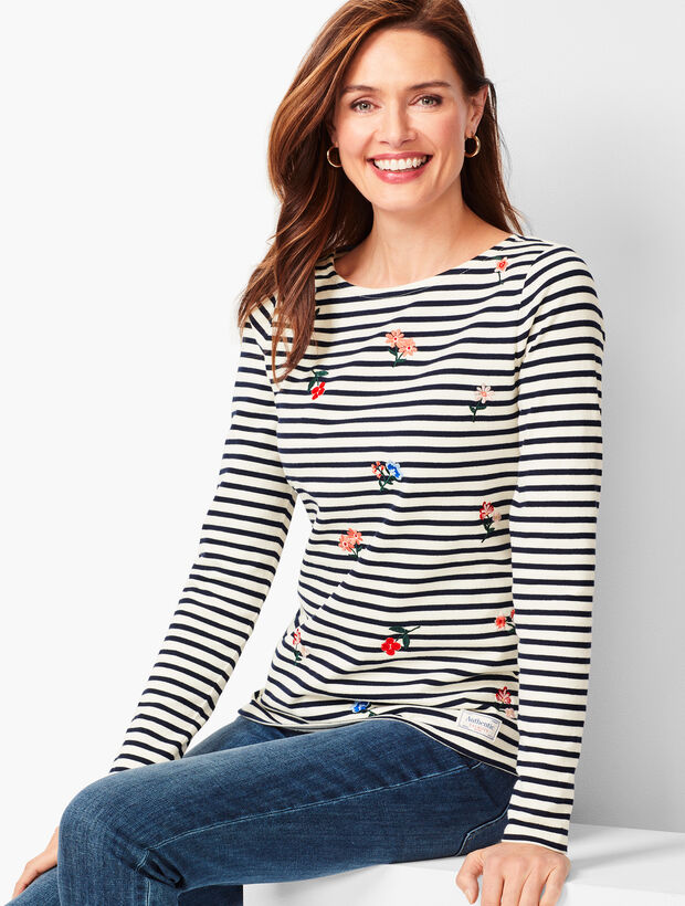 Authentic Talbots Tee - Floral Stripe