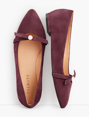Poppy Pearl Ballet Flats - Suede
