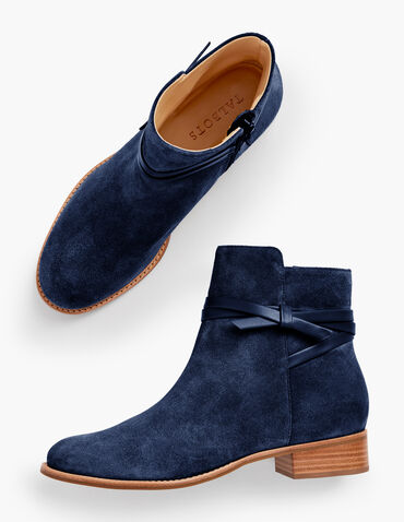 Tish Wrap Tie Suede Ankle Boots