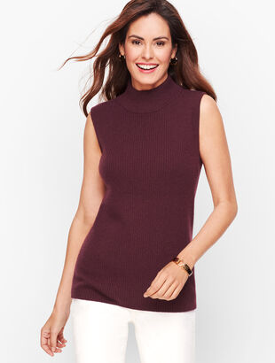 Cashmere Ribbed Turtleneck Shell