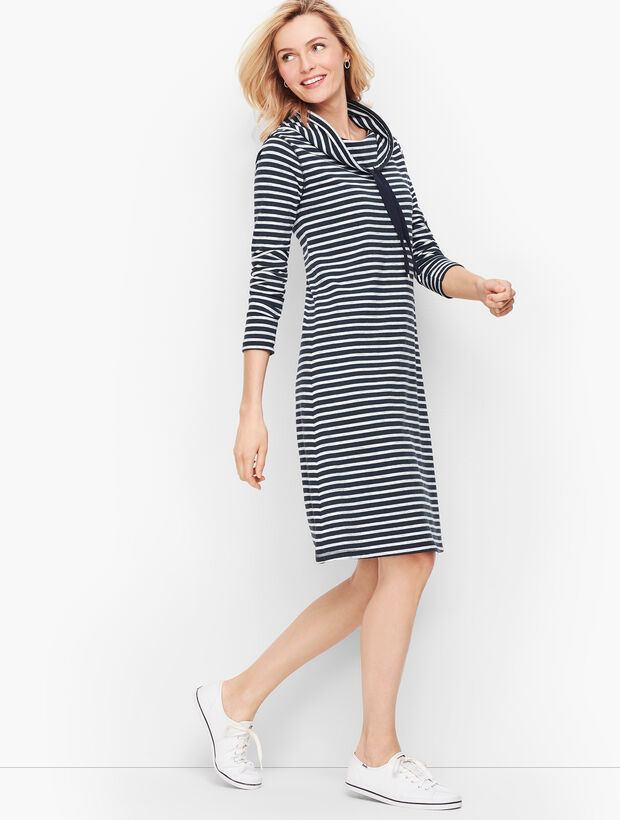 Soft Terry Cowlneck Dress - Stripe