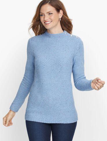 Mockneck Cotton Blend Sweater - Tweed