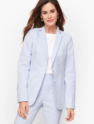 Seersucker Two Button Blazer