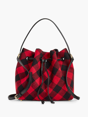 Buffalo Plaid Drawstring Bucket Bag
