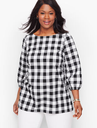 Gingham Gathered Sleeve Top
