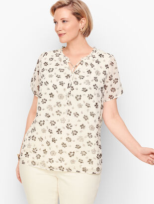 Tie-Neck Flutter Flower Top