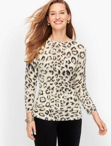 Cashmere Audrey Sweater - Elegant Leopard