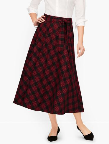 Tie Waist Houndstooth Midi Skirt