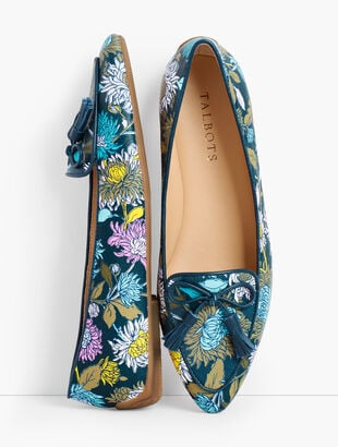 Francesca Tied Tassel Driving Moccasins - Floral Leather