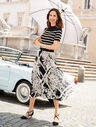 Lattice Bouquets Pleated Midi Skirt