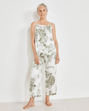 Washable Silk Blooming Toile Cropped Pants