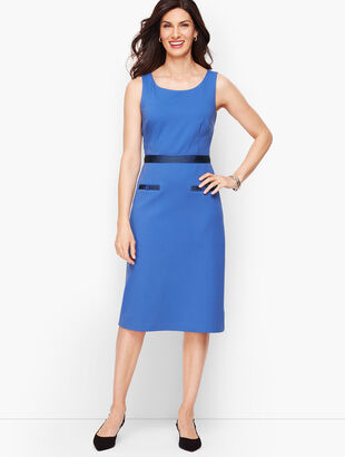 Ponte Grosgrain-Trim Sheath Dress - Stripe