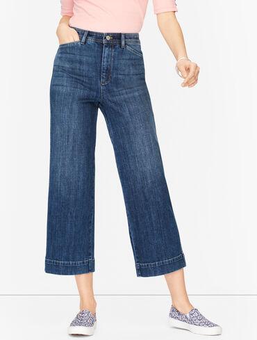 Wide Leg Crop Jeans - Fleet Wash