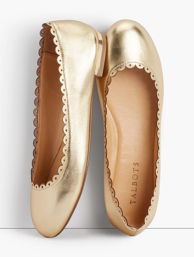 Penelope Scalloped Ballet Flats - Metallic Napa Leather