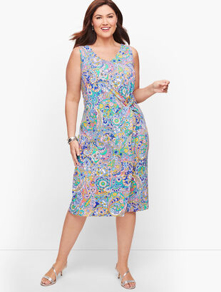 Paisley Side Gathered Sheath Dress