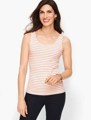 Pima Cotton Blend Tank - Red Pop Stripe