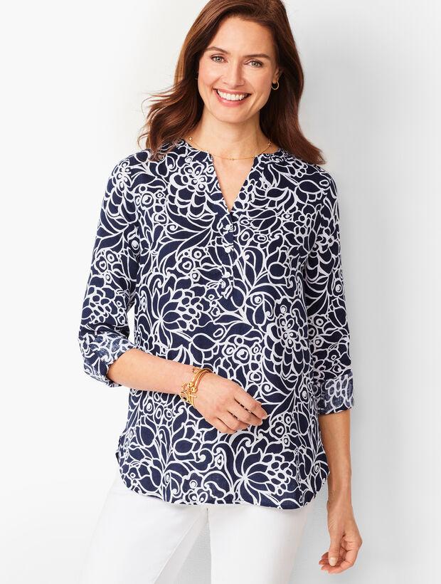 Linen Camp Shirt - Bi-Color Blooms