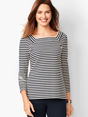 Textured Square-Neck Tee - Stripe