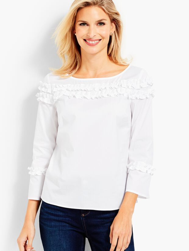 Shirred Ruffle-Trim Popover