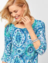 Textured Cotton Button-Tab Sweater - Medallion