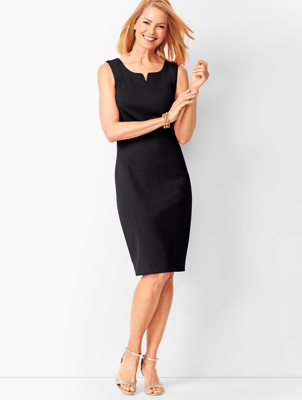 Split-Neck Refined Ponte Sheath Dress - Solid