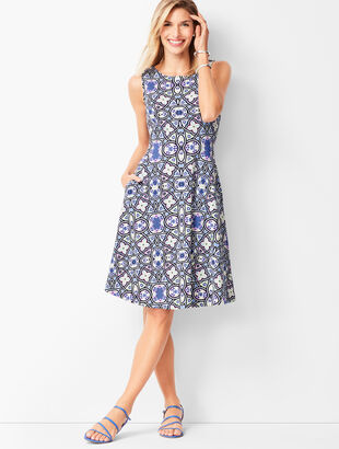 Edie Knit Fit & Flare Dress - Medallion