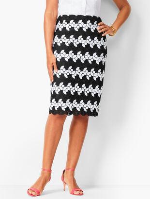 Lace Dot & Floral Pencil Skirt