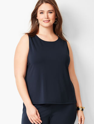 Plus Size Knit Jersey Shell - Crewneck